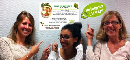 Chérine, Sophie et Laura, pionnières de l'AMAP de Puteaux
